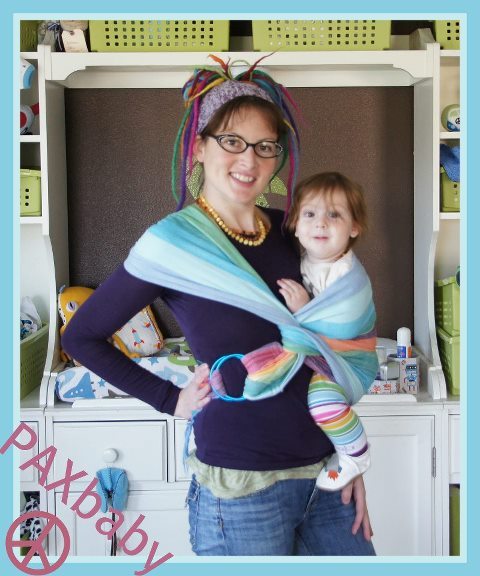 girasol, double rainbow, rojo, ring sling, Poppins, hip carry, infant