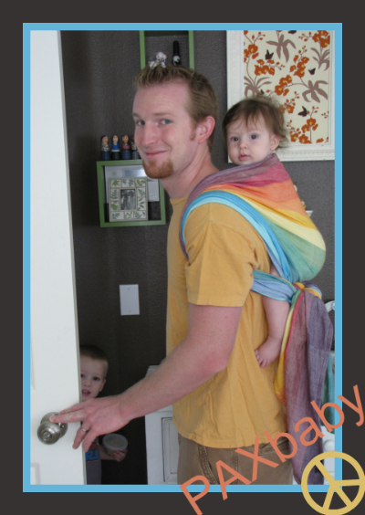 PAXbaby babywearing daddy wrap rainbow